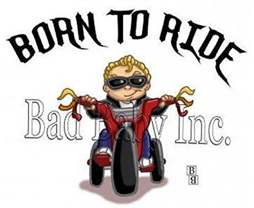 BORN TO RIDE Boy Infant Baby Bib, 100% combed ringspun cotton 5.8 ounce - Dvd Fun Car Ride