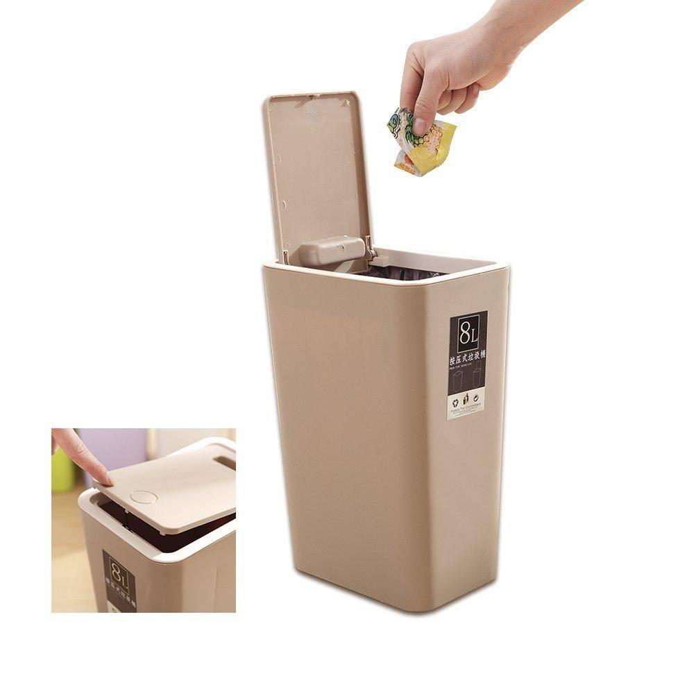 Cocina Push-Lid Cubos de basura,BAFFECT® presionando el tipo de cubierta Cubo de basura de cocina Compartimiento de basura delgado para la sala de baño Papelera de papel higiénico de la oficina Cesta (marrón)