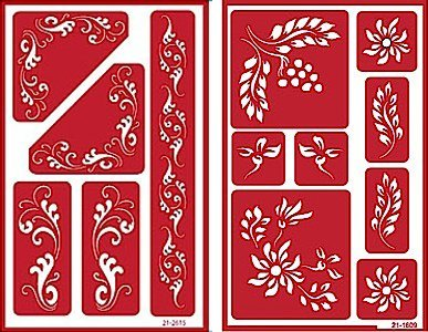 Over 'n' Over Reusable Self-Stick Etching Stencil for Glass (or Stamping) - Bundle of Two Sets - Fleur de Lis & Laurels Armour Products
