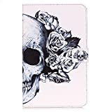 Galaxy Tab E 8.0 Case,Skull Design Slim Lightweight Flip Folio PU Leather Wallet Stand Shockproof Protective Cover with [Kickstand]Card Slots Pocket for Samsung Galaxy Tab E 8-Inch SM-T377A Tablet