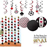 Casino Night Party Bundle | Foil Swirl Hanging Decorations, Casino Printed Paper Lanters & Hanging Foil Strings with Hearts, Clubs, Spades & Diamonds by Curated Nirvana