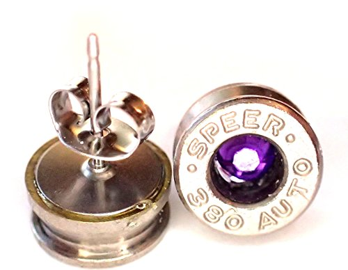 Small 380 caliber Silver Bullet Shell Earrings Stainless steel post w Amythyst Purple Crystal