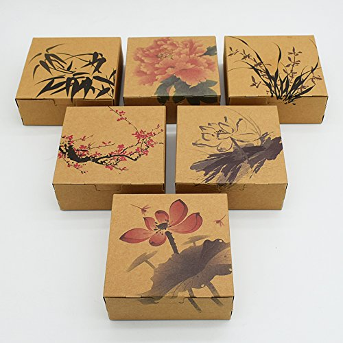 Chocolate Brown Gift Boxes - 30 Pieces Small 12cm x 12cm x 4.8cm Chinese Style Brown Kraft Paper Gift Wedding Package Box Brown Kraft Paper Packing Box Handle Candy Biscuits Cosmetic Packaging Pack Boxes Printed Box