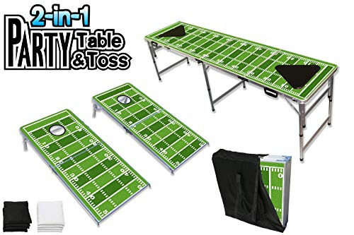 PartyPongTables 082120189 2-in-1 Cornhole Boards (2' x 4')/Beer Pong Tailgate Table (2' x 8'), Football Edition]()