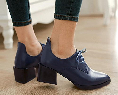 Spring new women's shoes in the first layer of leather with a pointed lace shoes Blue