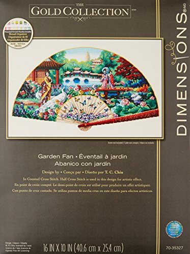 "Gold Collection Garden Fan Counted Cross Stitch Kit-16""X10"""