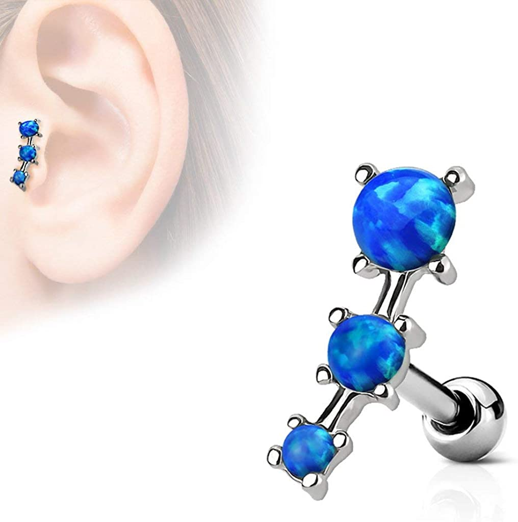 Forbidden Body Jewelry Pair 16g Surgical Steel Curved White Opalite Lined Cartilage Stud Earrings
