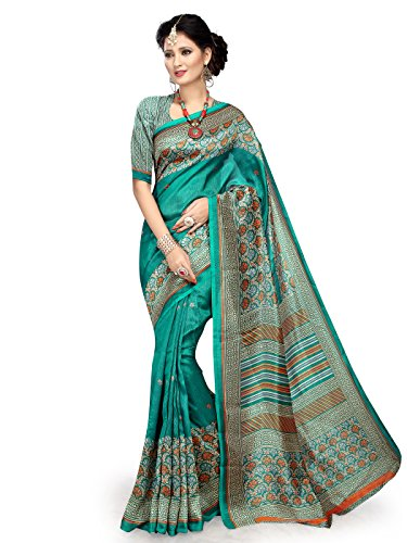 Shonaya-Green-Cotton-Silk-Printed-Saree-with-Unstitched-Blouse-PieceFree-Size
