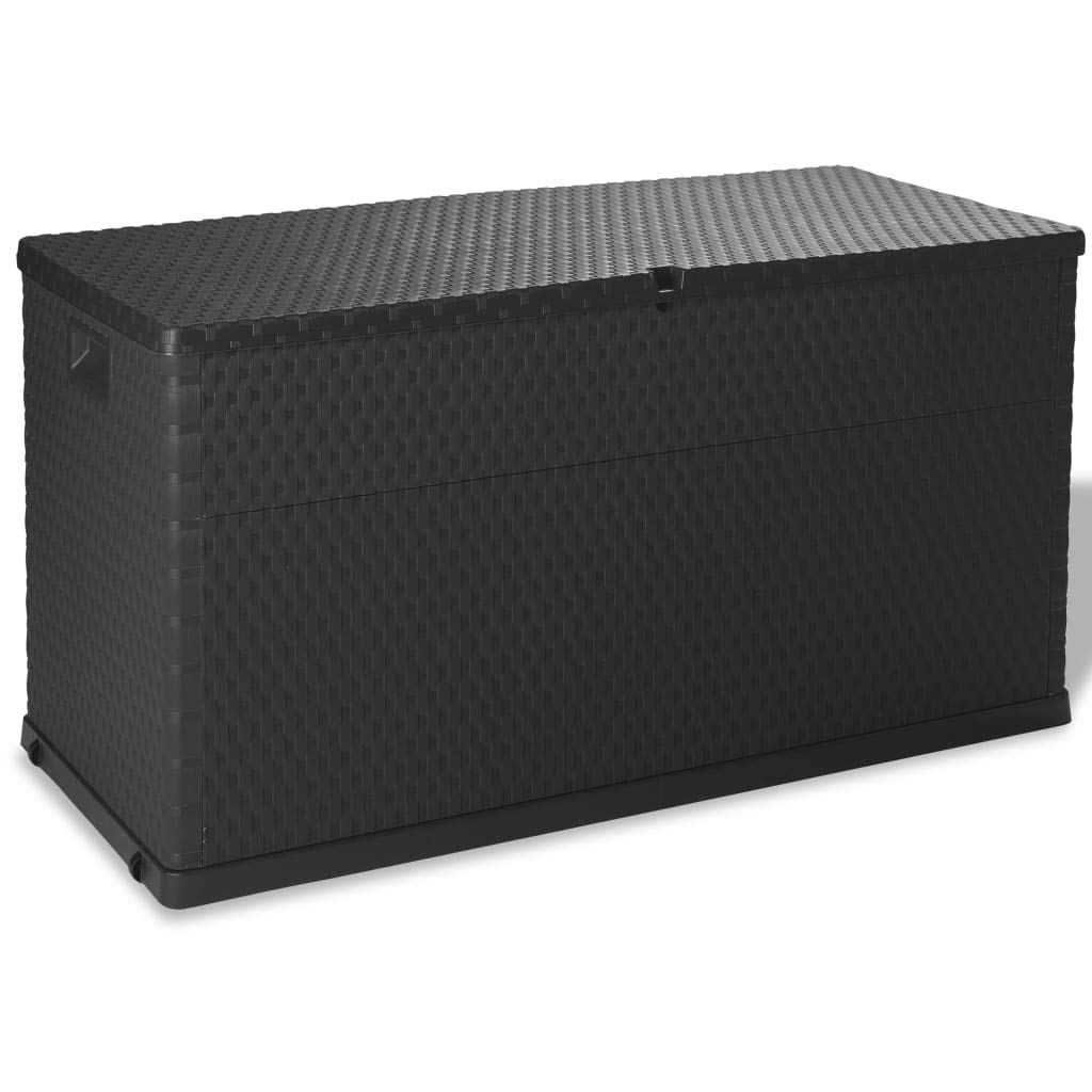 vidaXL Caja de Almacenamiento Jardí n 420 L Gris Baú l Arcó n Cofre Organizador