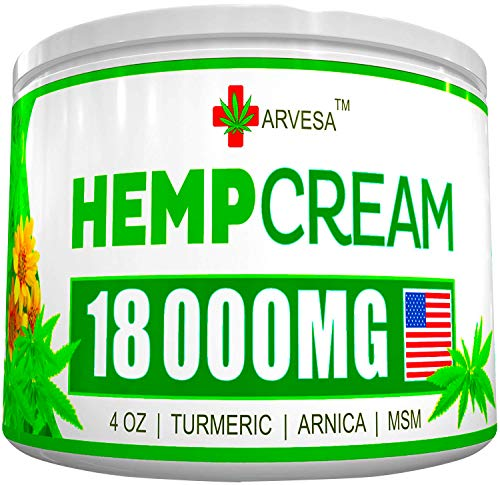 Hemp Pain Relief Cream - 18 000MG - 4 OZ - Made in USA - Lower Back, Neck, Joint, Knee, Muscle Inflammation - All-Natural Hemp Extract - with Emu Oil, Arnica, MSM, Turmeric (Whats The Best Muscle Relaxer)