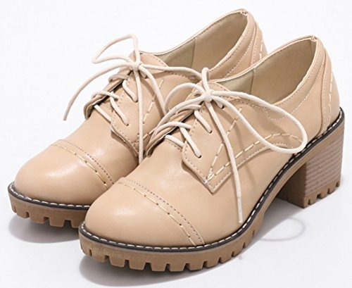 Oxfords Shoes Mofri Lace Rounded Toe Women's Apricot Low Stacked Medium Top up Heel Block Casual Oxr7wYO