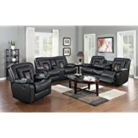 GTU Furniture Cobra Pu-Leather Reclining Sofa Loveseat Recliner Set, Luxurious Living Room Furniture (Sofa, Loveseat & Recliner, BLACK)