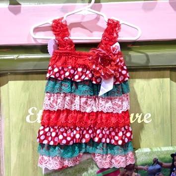 2ac080c85fc91 Amazon.com: Lace Petti Romper Christmas Baby Ruffle Jumper Xmas ...