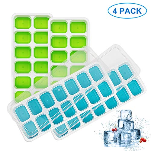 (4 Pack Silicone Ice Cube Trays with Lid, Easy-Release Ice Cube Molds, 56 Cavities Small Square Ice Tray BPA Free Nontoxic and Safe, Stackable Durable and Dishwasher Safe(2 Blue & 2 Green))