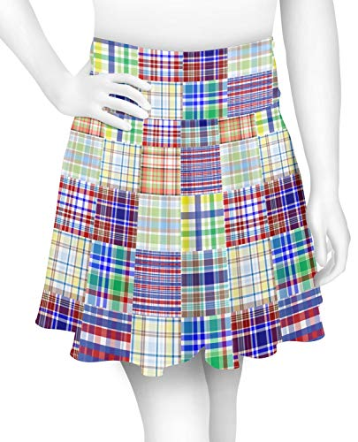 Blue Madras Plaid Print Skater Skirt - X Large (Personalized)