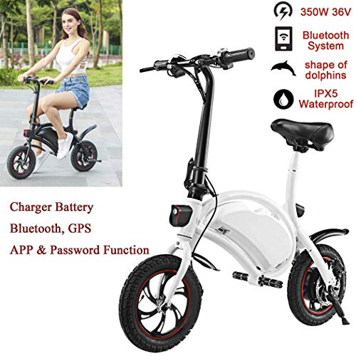 Miageek Folding Aluminum Electric Bike with 36V Removable Lithium-Ion Battery Lightweight E-Bike with 250W/350W Powerful Motor and Fast Battery Charger (11.8