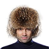 URSFUR Winter Mens Trapper Hat Real Leather and Raccoon Fur Russian Ushanka Cap