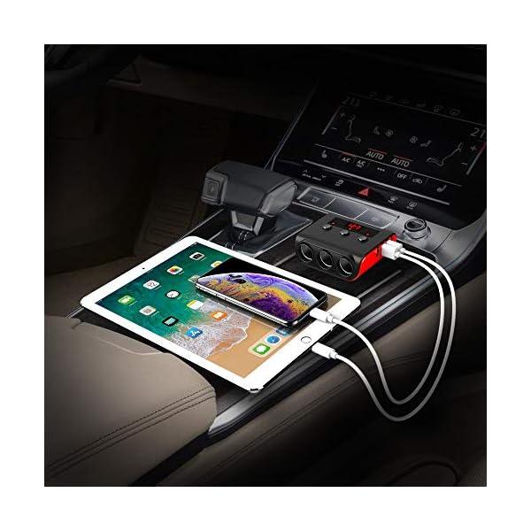 51u2jcQcIOL Auto Ladegerät Adapter, SONRU 3 Fach KFZ Zigarettenanzünder Verteiler mit 4 USB Ports, 120W 12V/24V DC Mehrfach…