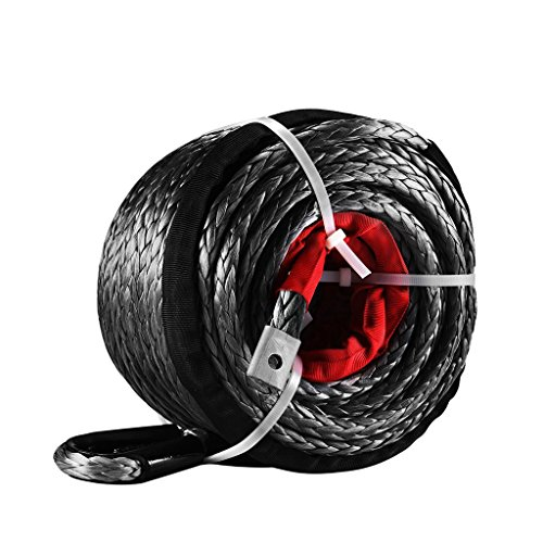 ALAVENTE 95ft x 3/8″ BLACK Synthetic Winch Rope Line Cable 20500 lb. wtih Protective Sleeve for ATV UTV Truck Boat Ramsey