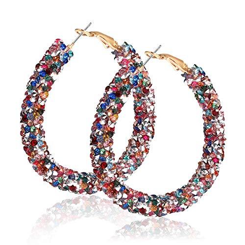 NLCAC Glitter Hoop Earrings Bohemian Sparkle Resin Rhinestone Wrapped Hoop Dangle Earrings for Women Girls (A-Rainbow)
