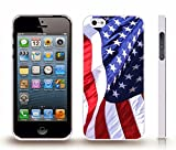 iStar Cases® iPhone 5/5S Case with Realistic American Flag, Extreme detail and Realism , Snap-on Cover, Hard Carrying Case (White)