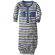 L'ovedbaby Unisex-Baby Organic Cotton Gown, Slate Stripe, 0/3 Months