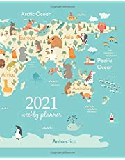 2021 Weekly Planner: Calendar Schedule Organizer Appointment Journal Notebook and Action day Animals world map for children, kids. Animals poster. ... Australia (Weekly Monthly Planner 2021)