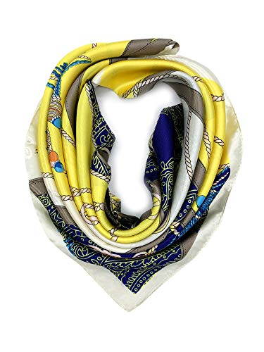 YOUR SMILE Silk Feeling Scarf Women's Fashion Pattern Yellow Chain Large Square Satin Headscarf (324)