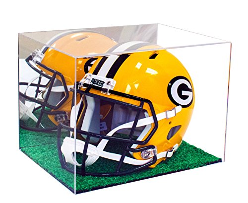 Deluxe Acrylic Football or Lacrosse Helmet Display Case with Turf Base and Mirror (A002-TB)