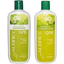 Aubrey Organics GPB Balancing Protein Shampoo and Aubrey Organics GPB Balancing Protein Conditioner Bundle With Organic Aloe, Glycoprotein and Milk Protein, Normal Hydrate, 11 fl oz (325 ml) each