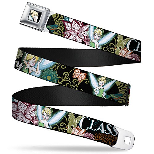 (Buckle-Down Seatbelt Belt - Tinker Bell Floral Collage CLASSY AND SASSY - 1.0