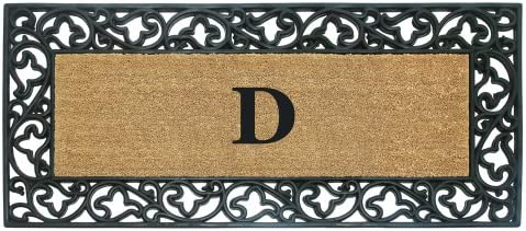 Nedia Home Acanthus Border with Rubber Coir Doormat, 24 by 57-Inch, Monogrammed D