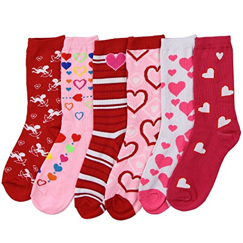 Womens Fun and Colorful Crew Sock 6 Packs (Valentines Day 2), One Size