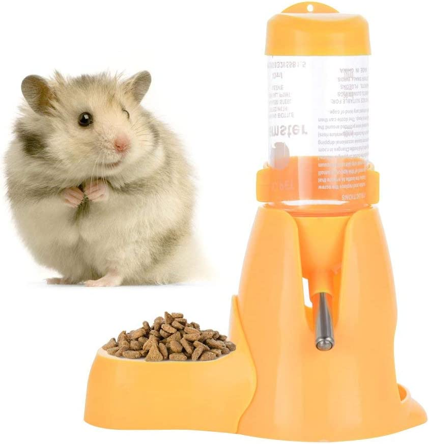Hamster Water Bottle Little Pet Automatic Drinking Bottle Hanging Water Feeding Auto Dispenser with Food Container Base Hut Hanging for Small Ferrets Rabbit Gerbil (80ML, Yellow)