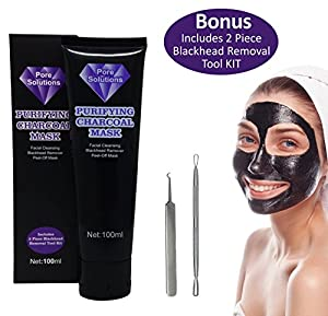 Pore Solutions, Black Mask, Blackhead Remover, Charcoal Peel Off, Deep Facial Cleanse, Blackhead and Whitehead Cleansing, Acne Removal Tool Kit