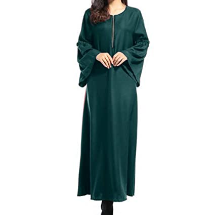 Women Maxi Muslim Dress Long Sleeve Casual Loose Kaftan Party Maxi Dresses