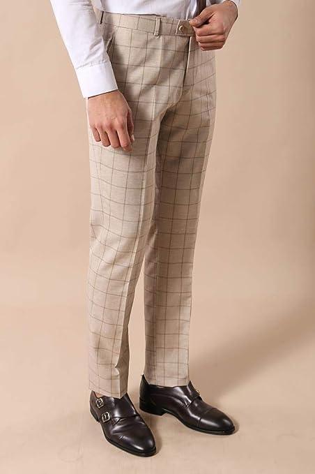 b0509d3b6eade Ekose Yelekli Krem Renk Takım Elbise | Wessi Bej 54: Amazon.com.tr:  DEPODANALDIM