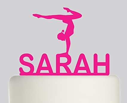 7b0539a85810 Gymnastics PERSONALISED Cake Topper - Acrylic Cake Topper - Pink Acrylic:  Amazon.co.uk: Kitchen & Home