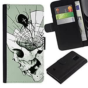 Billetera de Cuero Caso Titular de la tarjeta Carcasa Funda para Samsung Galaxy S5 Mini, SM-G800, NOT S5 REGULAR! / Spider Skull Halloween Death Metal / STRONG