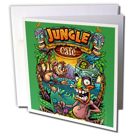 3dRose Light, Tropical, Fun, Cartoon, Illustration - Tiki guy and Monkey having in the jungle - 6 Greeting Cards with envelopes - Jungle Tiki