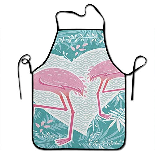 Starobkn Pink Flamingo Couple Love Heart Unisex Kitchen Bib Apron Women Men Chef Cooking Baking Gardening