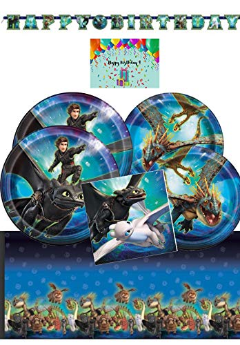 How To Train Your Dragon Deluxe Party Supplies Pack for 16 - Tablecover, Lunch Plates, Dessert Plates, Napkins, Birthday Banner Bundles with Birthday Card by JPMD Party House]()