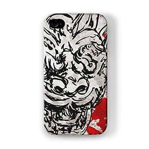 Scary Monster Face Red Blood Funda Completa de Alta Calidad con Impresión 3D, Snap-On, Diseño Negro Formato Duro parar Apple® iPhone 4 / 4s de UltraCases