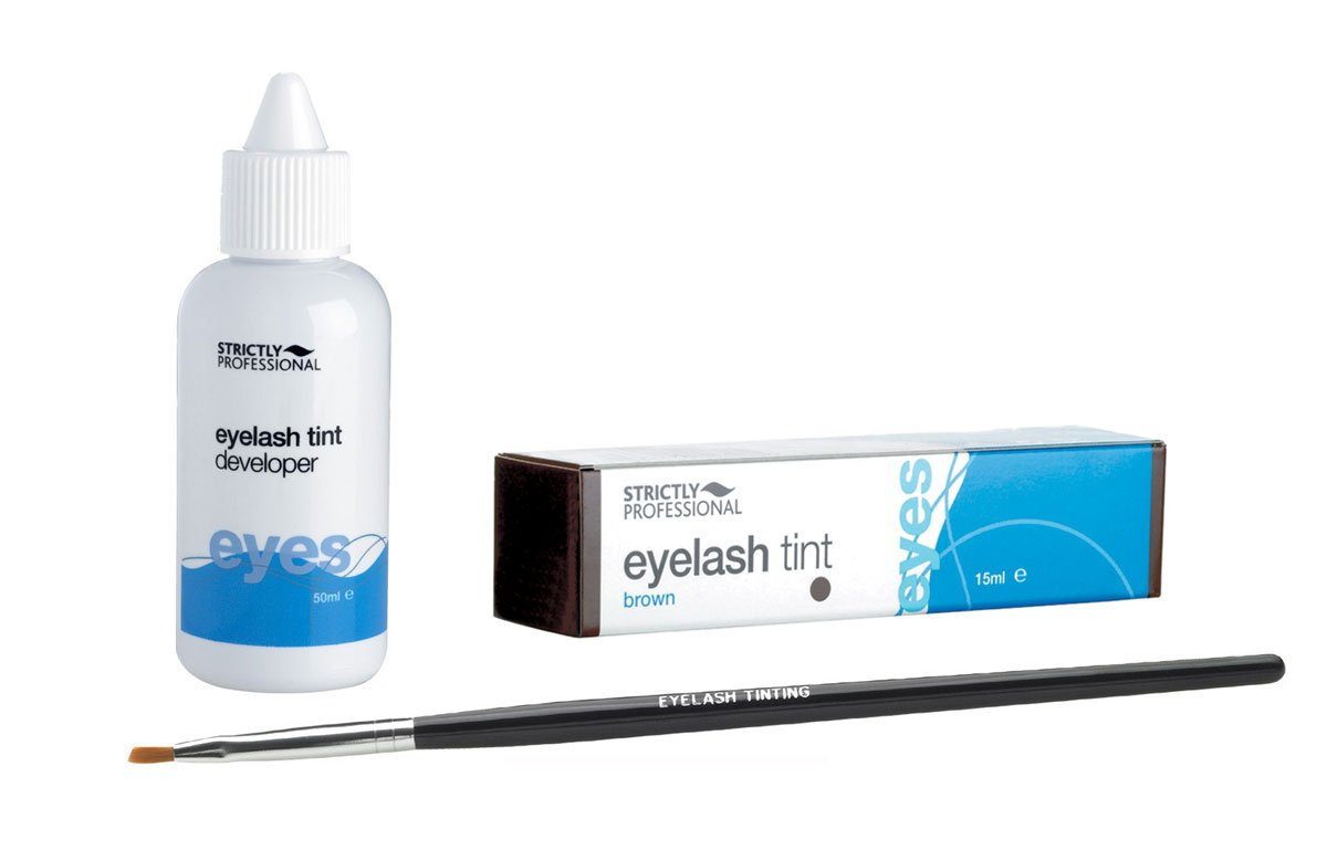 Eye Lash / Brow Tinting Dye Kit - 3 Piece - Tint, Developer & Brush (Blue / Black) by essentialbeautycare Strictly Professional