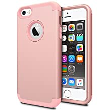 iPhone SE Case, iPhone 5S Case,iPhone 5C Case Jwest 3in1 Hybrid Impact Shockproof Back Cover Hard Armor Shell and Soft Silicone Skin Layer Protective Bumper Slim Fit Case for iPhone SE / 5S / 5 / 5C - Rose Gold