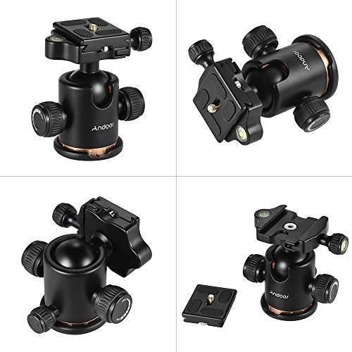 Andoer Tripod Ball Head, 360 Degree Rotating Panoramic Ball Head with Quick Release Plate 1/4 to 3/8 Srew Adapter Max 8kg/17.64lbs for Tripod Monopod Slider DSLR Camera
