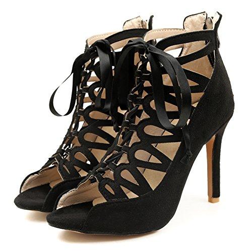 TAOFFEN Women Fashion Thin Heel Sandals Black-5 q1OsxaO