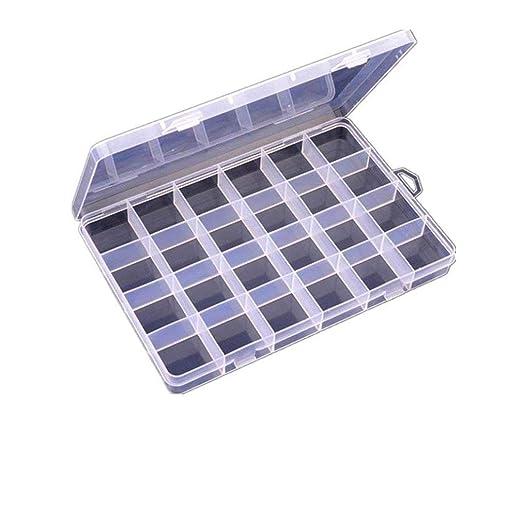 Clear  24 Slots Adjustable Jewelry Storage Box Case Craft Organizer Beads