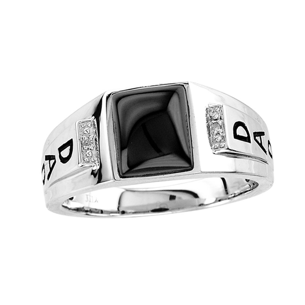 Esty & Me Men's Black Onyx Dad Ring in Sterling Silver - Size 9 by Esty & Me