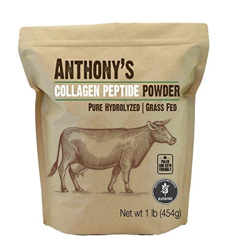 Anthonys Collagen Peptide Powder (1lb), Pure Hydrolyzed, Gluten Free, Keto and Paleo Friendly